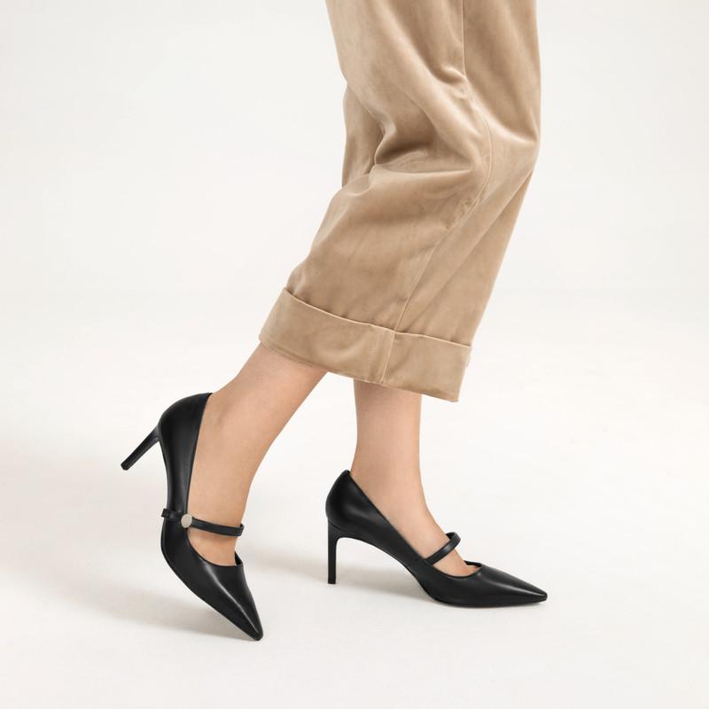金属高跟玛丽珍 · 尖头高跟玛丽珍鞋单鞋CK1-60361218 Black黑色 37