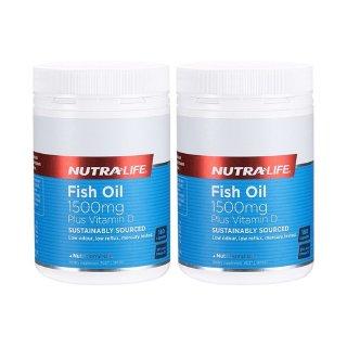 Nutra-life纽乐 高含量深海鱼油1500mg加维生素D 180粒 ×2