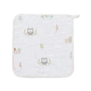 艾娜骑士 绢竹纱布5层宝宝毛巾口水巾手绢帕新生儿洗脸巾 小狐狸