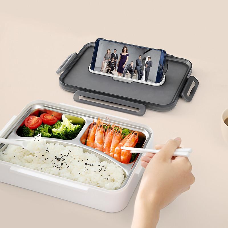 304不锈钢便当盒 自带餐具保温学生便携分隔型上班族餐盒
