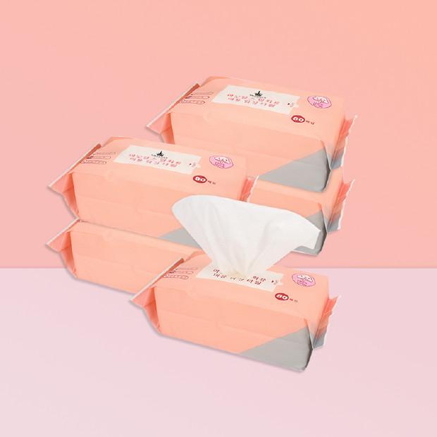 AMORTALS尔木萄 一次性美容洁面巾 80片/1包 干爽透气无添加  ×5