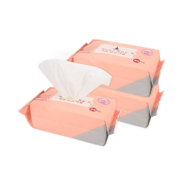 AMORTALS尔木萄 一次性美容洁面巾 80片/1包 干爽透气无添加 ×3