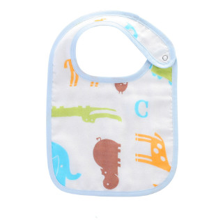艾娜骑士 布围嘴口水巾饭兜360度旋转新生儿围兜竹 竹棉纱布-蓝色小象