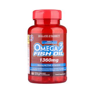 Holland&Barrett Omega-3多烯鱼油软胶囊 三倍浓缩1360mg*60